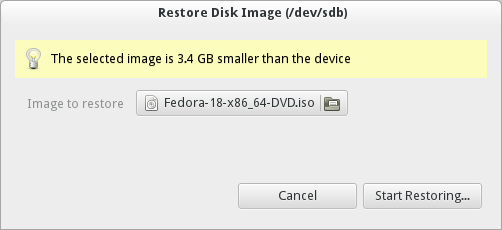 Start restoring the Fedora ISO to the USB drive